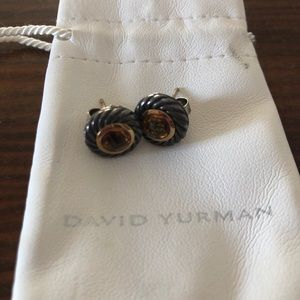 David Yurman silver14k gold citrine cable earrings